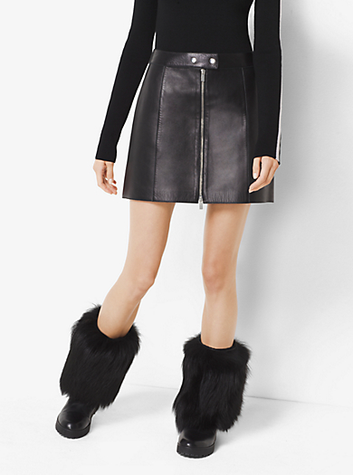 Zip-Up Leather Skirt by Michael Kors