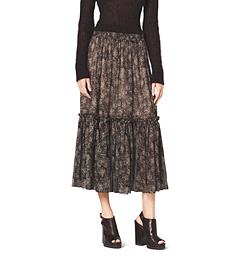 Bohemian-Print Silk-Chiffon Ruffle Skirt