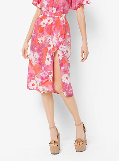 Floral Crepe De Chine Wrap Skirt by Michael Kors