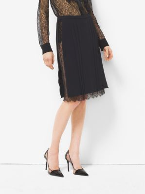 Silk Marocain and Chantilly Lace Skirt  by Michael Kors