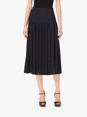 Gem-Embroidered Stretch-Wool Pleat Skirt by Michael Kors
