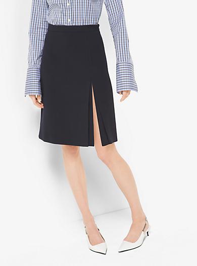 Wool-Crepe Broadcloth Slit Skirt by Michael Kors