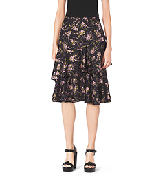 Elderflower-Print Tiered Ruffle Silk-Twill Skirt