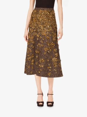 Feather-Embroidered Tweed Wool-Bouclé Skirt by Michael Kors