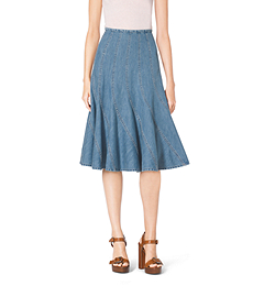 Washed Denim Trumpet Skirt