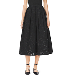 Pleated Floral Fil Coupé Dance Skirt