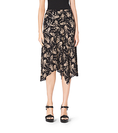 Floral-Embroidered Silk-Georgette Skirt