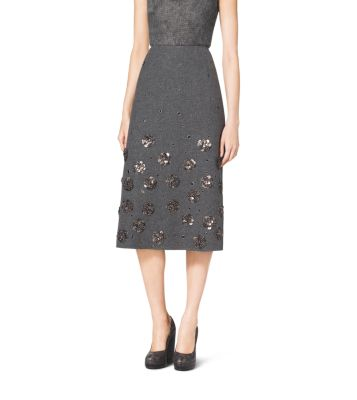 Embroidered Shetland Wool A-Line Skirt by Michael Kors