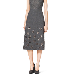 Embroidered Shetland Wool A-Line Skirt