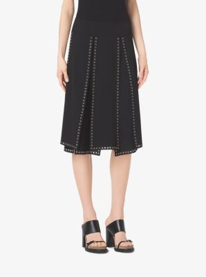 Grommet-Embroidered Slashed Georgette Skirt by Michael Kors