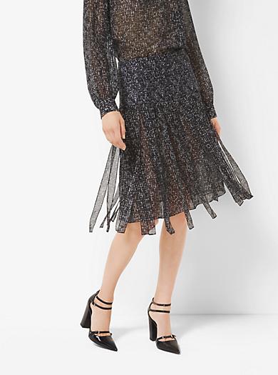 Tweed Silk-Chiffon Streamer Skirt by Michael Kors