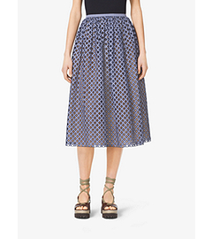 Gingham Lattice-Embroidered Cotton-Poplin Skirt