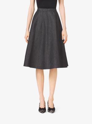 Seamed Flare Denim Skirt by Michael Kors