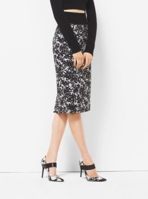Floral Sateen Pencil Skirt  by Michael Kors