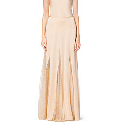 Satin Charmeuse and Chantilly Lace Maxi Skirt
