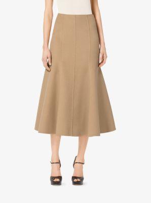 Cashgora Melton Flared Midi Skirt  by Michael Kors