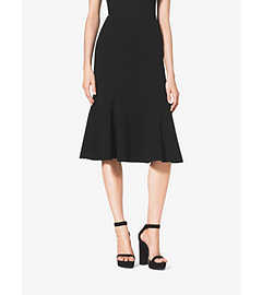 Stretch Wool-Crepe Flare Skirt