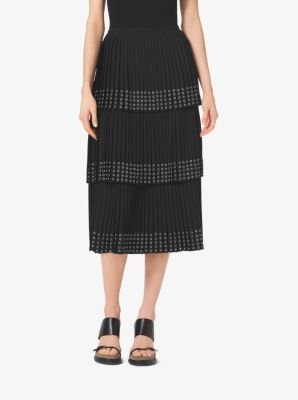 Grommet-Embroidered Pleated Silk-Georgette Skirt by Michael Kors