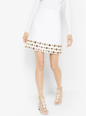 Grommeted Cotton-Crepe Broadcloth Skirt by Michael Kors