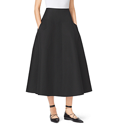 Shirred Silk and Wool Mikado Skirt