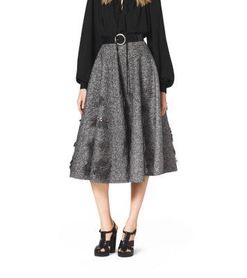 Embroidered Herringbone Wool Skirt by Michael Kors