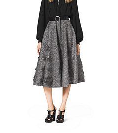 Embroidered Herringbone Wool Skirt