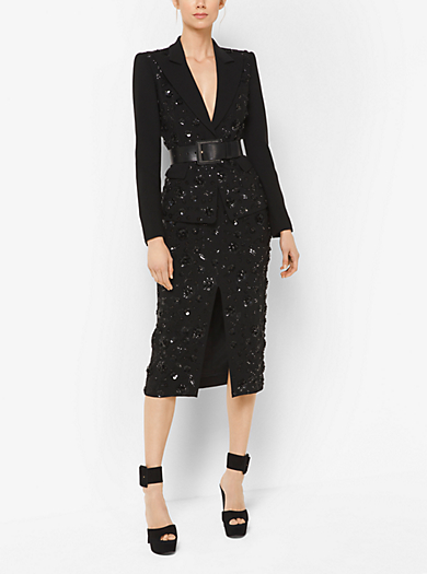 Floral-Embroidered Stretch Pebble-Crepe Slit Skirt by Michael Kors