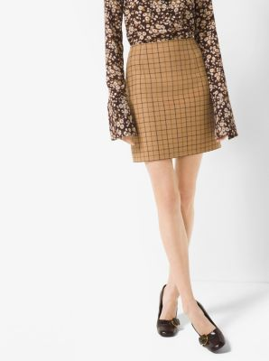 Tattersall Double-Face Wool Skirt by Michael Kors