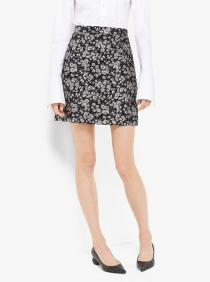 Floral Metallic-Embroidered Brocade Skirt by Michael Kors