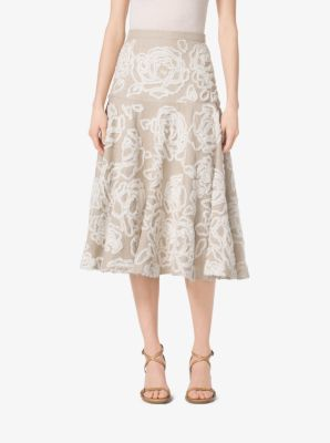 Floral-Embroidered Linen-Serge Skirt  by Michael Kors
