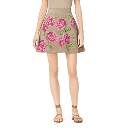 Floral-Embroidered Suede Skirt