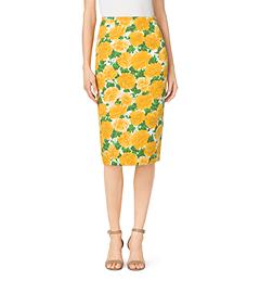 Peony-Print Matelassé Pencil Skirt