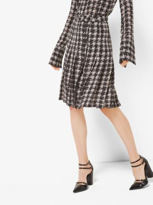 Houndstooth Pleated Silk-Georgette Slit Skirt by Michael Kors