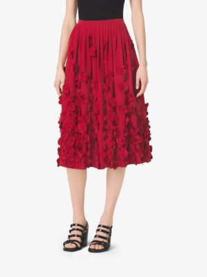 Floral-Embroidered Washed-Faille Skirt by Michael Kors