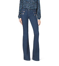Washed Stretch-Denim Flare Jean
