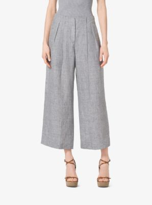 Pleated Linen Culottes by Michael Kors