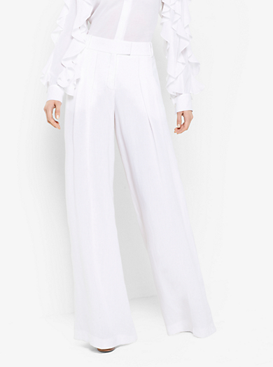 Linen-Crepe Trousers by Michael Kors