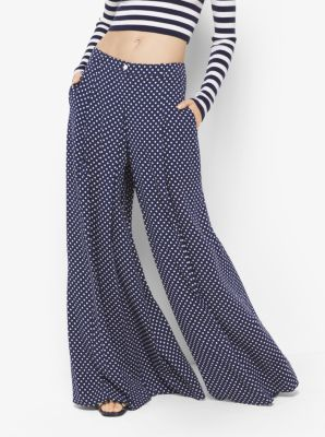 Polka Dot Silk-Georgette Palazzo Trousers by Michael Kors