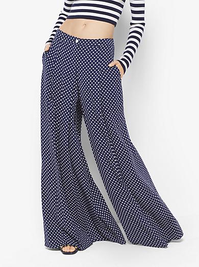 Pantaloni palazzo in georgette di seta a pois by Michael Kors