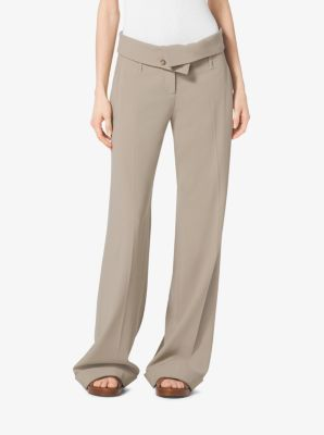 Wool-Serge Fold-Over Trousers by Michael Kors