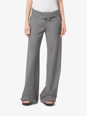 Fold-Over Stretch-Wool Trousers by Michael Kors