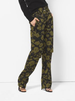 Floraflage Cotton-Sateen Utility Trousers  by Michael Kors