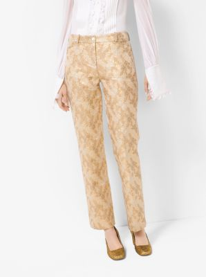 Floral Metallic Jacquard Trousers by Michael Kors