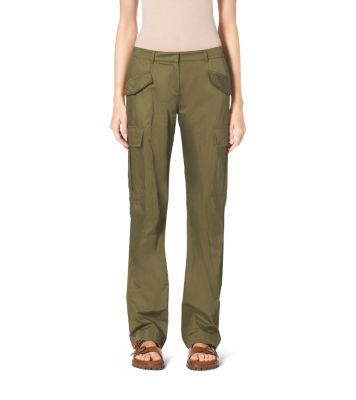 Crushed-Cotton Cargo Pants by Michael Kors