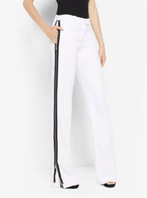 Double Crepe-Sable Zip Track Pants by Michael Kors