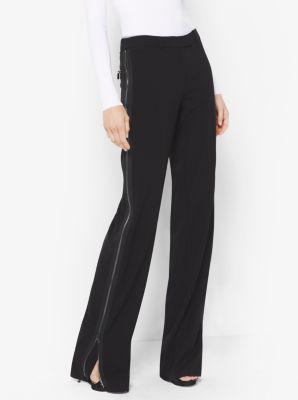 Double Crepe-Sable Zip Track Pants by Michael Kors