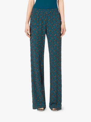 Gem-Embroidered Paisley Georgette Pajama Trousers by Michael Kors