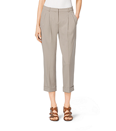 Stretch Wool Gabardine Capri Trousers