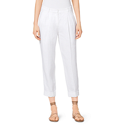 Cropped Linen Gabardine Trousers