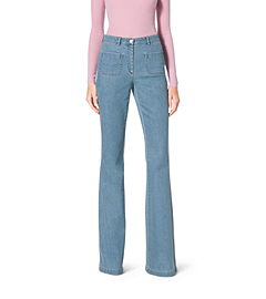 Washed Stretch-Cotton Bell Bottoms